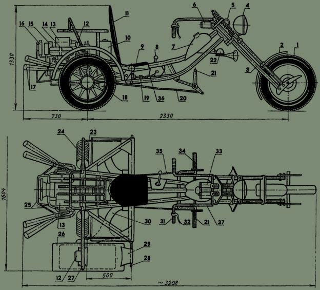Общий вид трицикла: